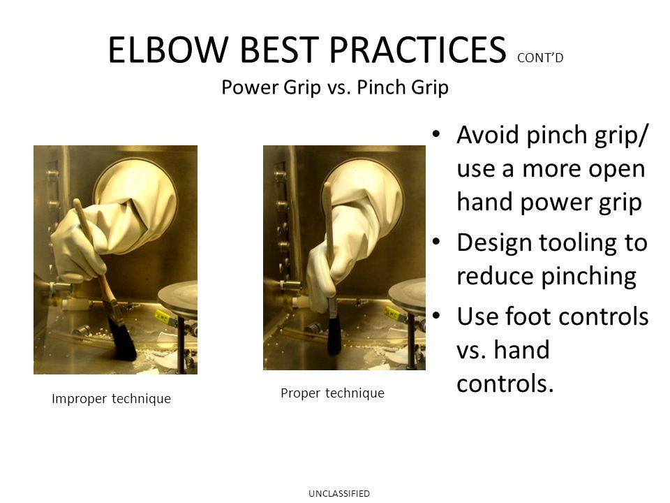 ELBOW BEST PRACTICES CONT'D Power Grip vs.
