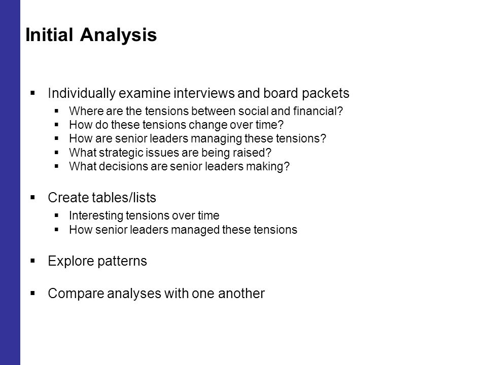 Initial Analysis  Individually examine interviews and board packets  Where are the tensions between social and financial.