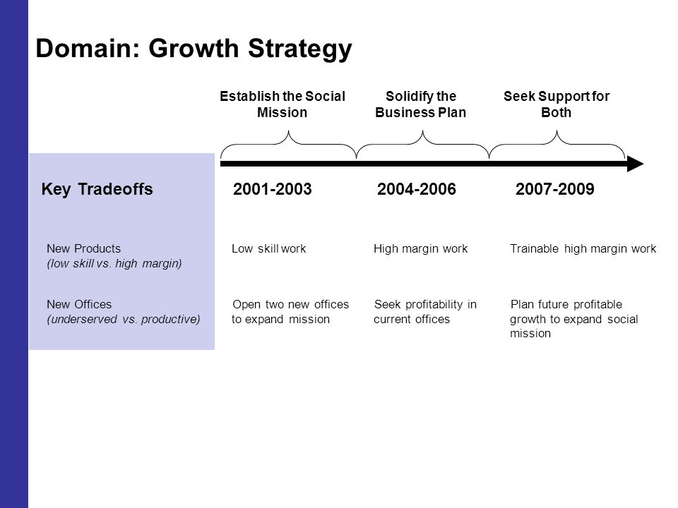 Domain: Growth Strategy 2001-20032004-20062007-2009 Establish the Social Mission Solidify the Business Plan Seek Support for Both Key Tradeoffs New Products (low skill vs.