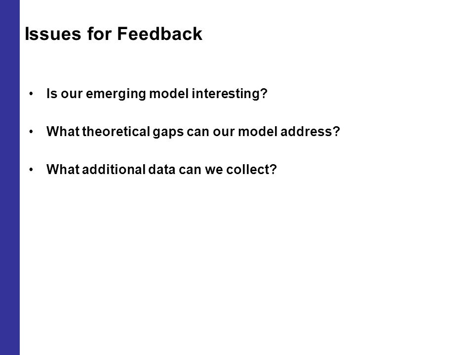 Issues for Feedback Is our emerging model interesting.
