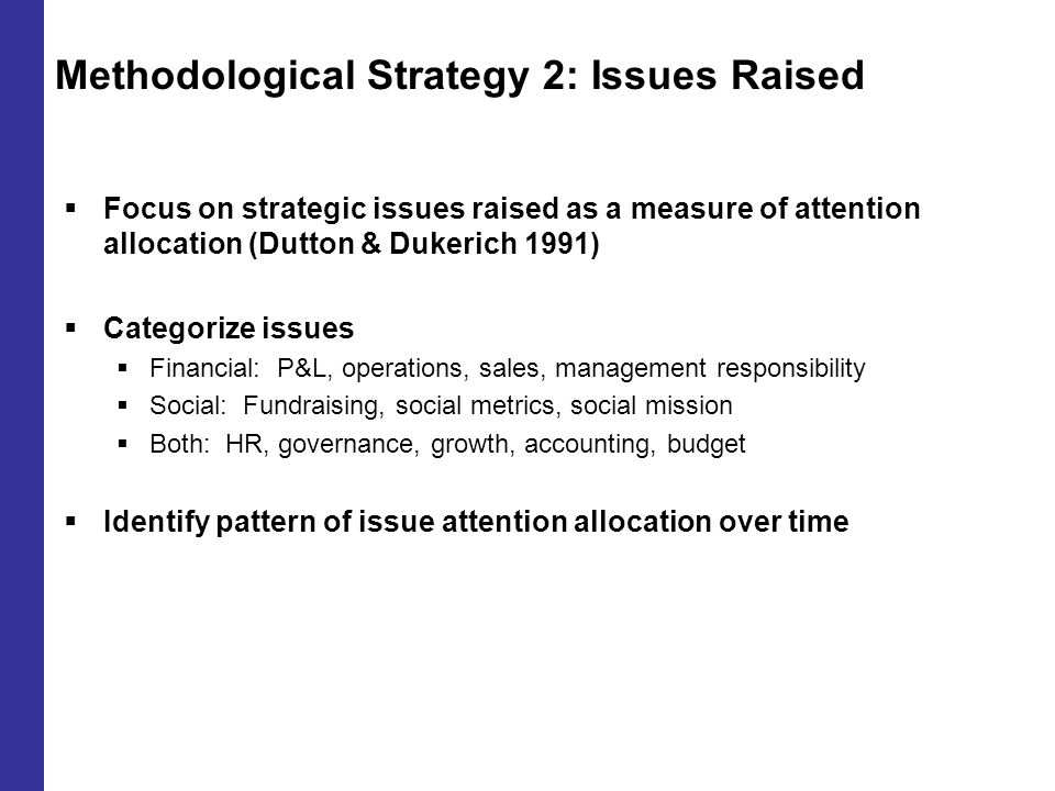 Methodological Strategy 2: Issues Raised  Focus on strategic issues raised as a measure of attention allocation (Dutton & Dukerich 1991)  Categorize issues  Financial: P&L, operations, sales, management responsibility  Social: Fundraising, social metrics, social mission  Both: HR, governance, growth, accounting, budget  Identify pattern of issue attention allocation over time