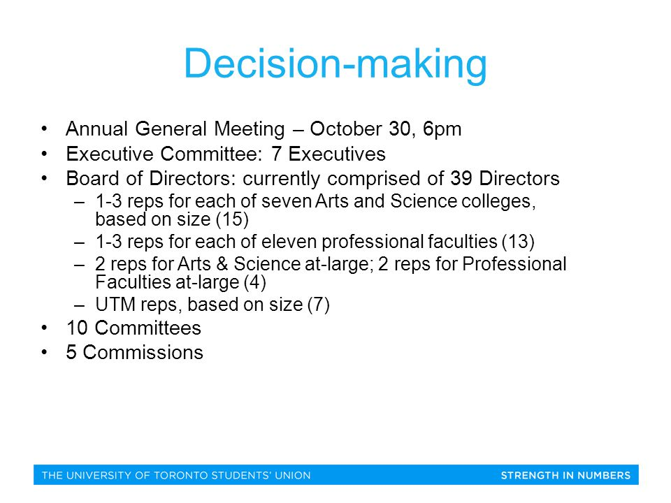 Annual General Meeting – October 30, 6pm Executive Committee: 7 Executives Board of Directors: currently comprised of 39 Directors –1-3 reps for each