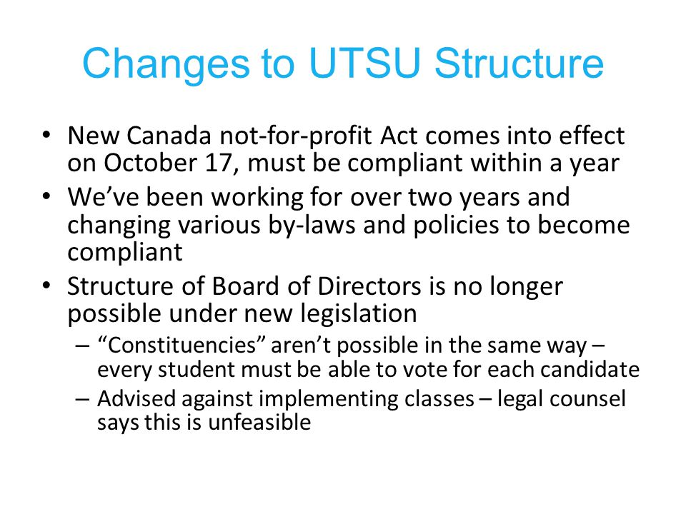 Proposed Board Structure 12 Constituency Directors –International Students' Director; –LGBTQ Director; –Women's Director; –Racialized Students Director; – Indigenous Students Director; –Mature Students Director; –Women s Director; – Students with Disabilities Director; – Residence Directors; –Commuter Directors (2); – Athletics Director; First-year Director 7 Executives TYP Director 3 Arts and Science at-large 3 Professional Faculties at-large