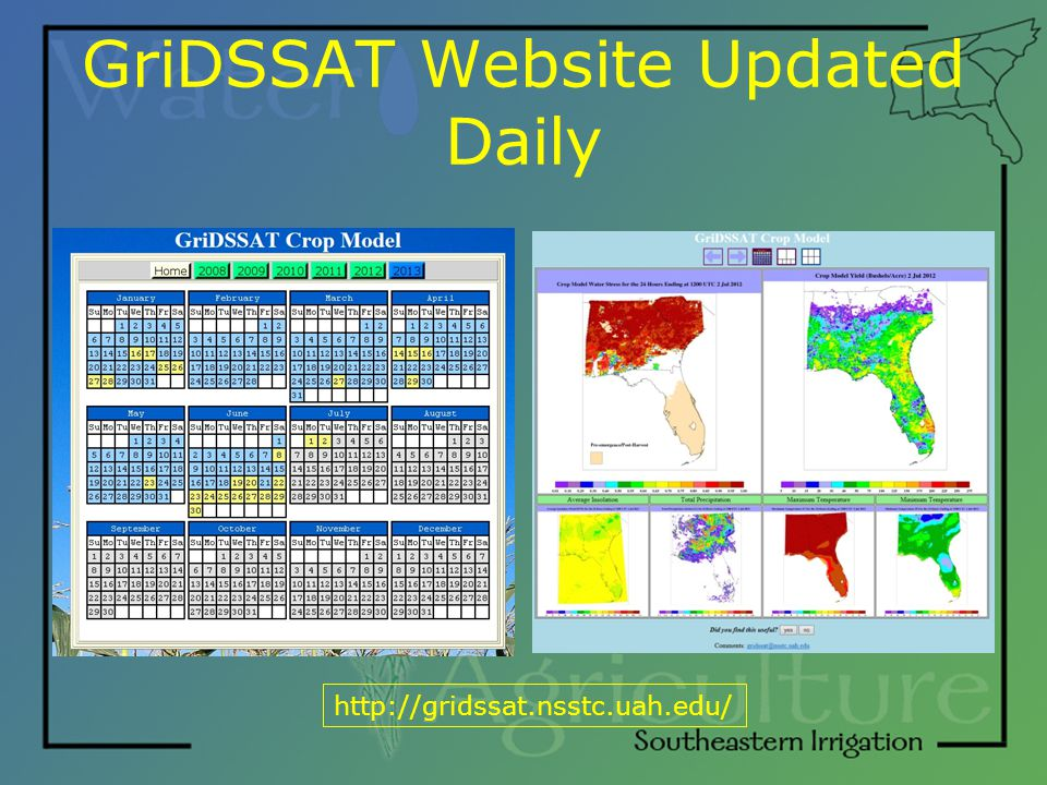 GriDSSAT Website Updated Daily http://gridssat.nsstc.uah.edu/