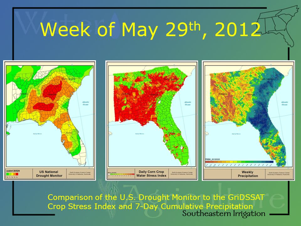 Week of May 29 th, 2012 Comparison of the U.S.