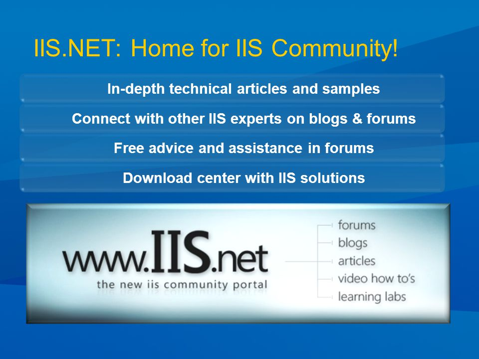 IIS.NET: Home for IIS Community.
