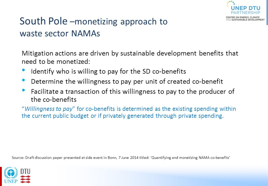South Pole –monetizing approach to waste sector NAMAs Mitigation actions are driven by sustainable development benefits that need to be monetized: Ide