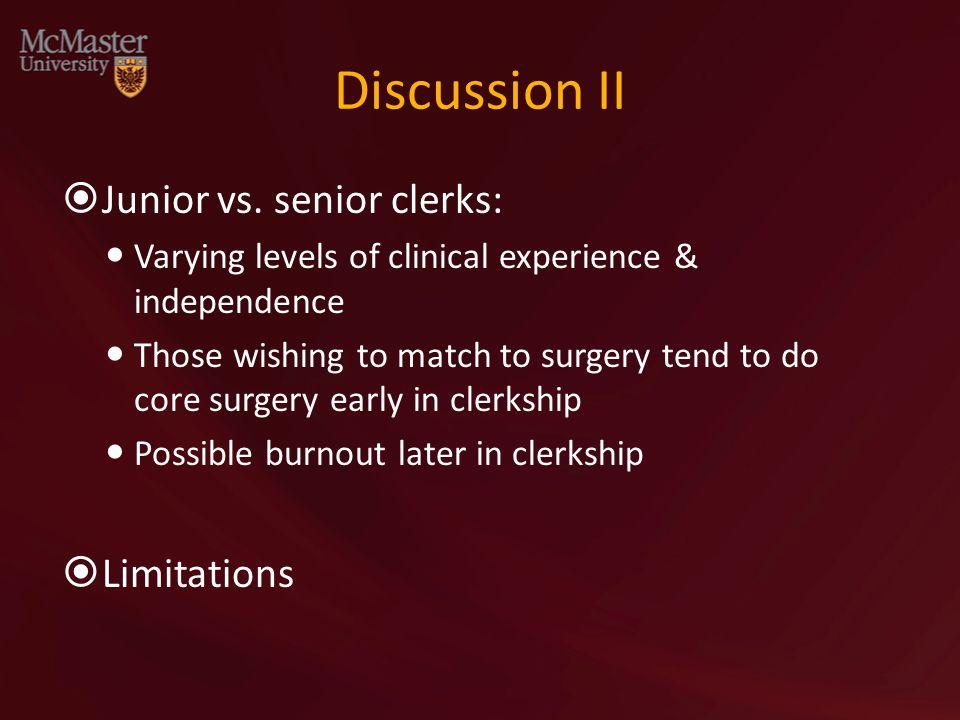 Discussion II  Junior vs.