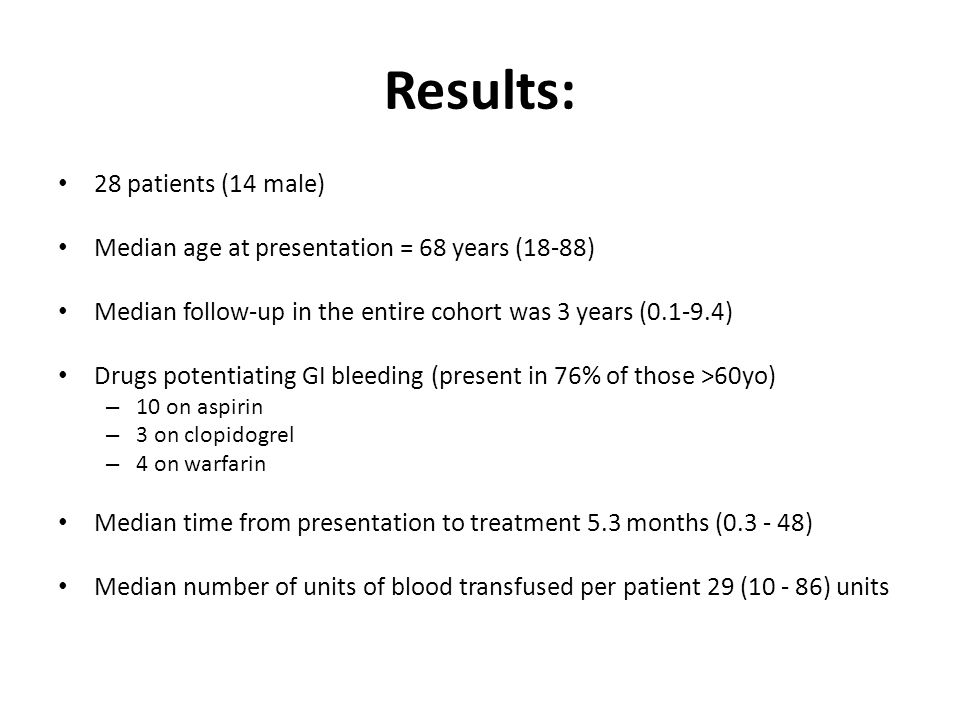 Results: 28 patients (14 male) Median age at presentation = 68 years (18-88) Median follow-up in the entire cohort was 3 years (0.1-9.4) Drugs potentiating GI bleeding (present in 76% of those >60yo) – 10 on aspirin – 3 on clopidogrel – 4 on warfarin Median time from presentation to treatment 5.3 months (0.3 - 48) Median number of units of blood transfused per patient 29 (10 - 86) units