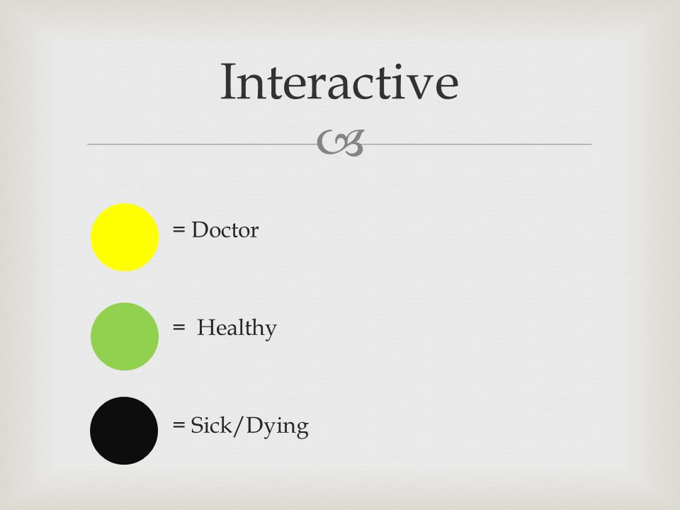  = Doctor = Healthy = Sick/Dying Interactive