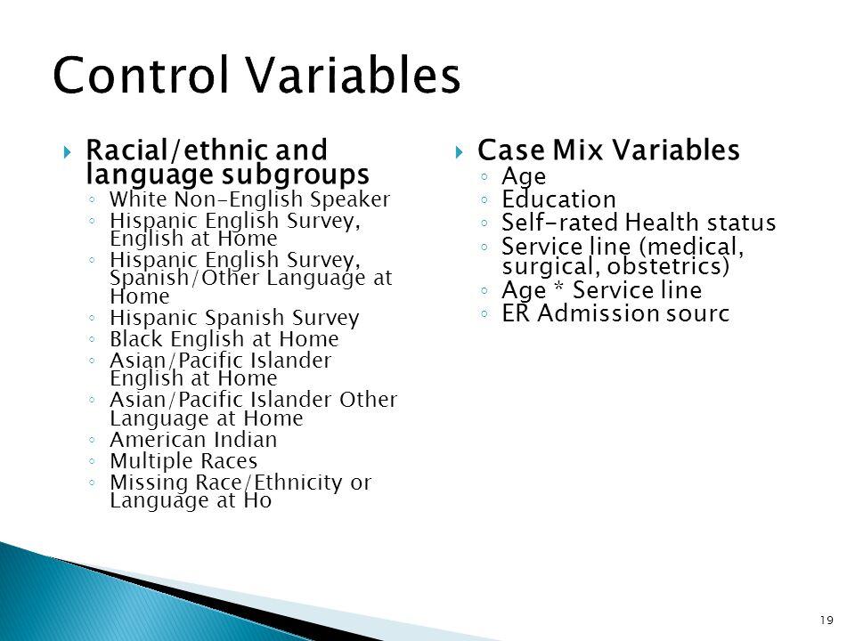 Racial/ethnic and language subgroups ◦ White Non-English Speaker ◦ Hispanic English Survey, English at Home ◦ Hispanic English Survey, Spanish/Other