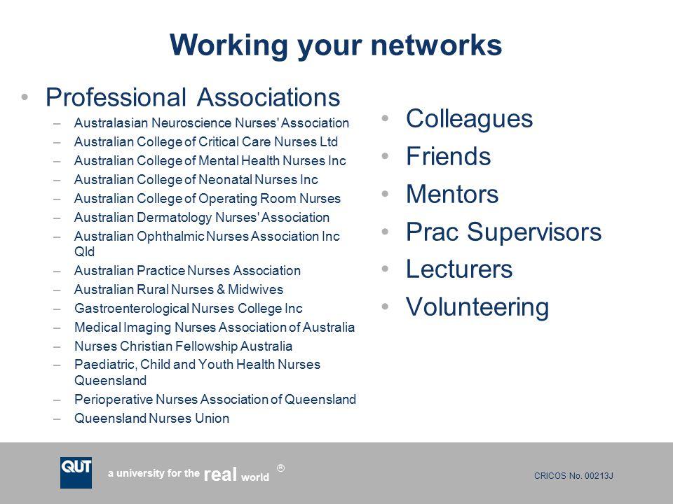 CRICOS No. 00213J a university for the world real R Working your networks Professional Associations –Australasian Neuroscience Nurses' Association –Au