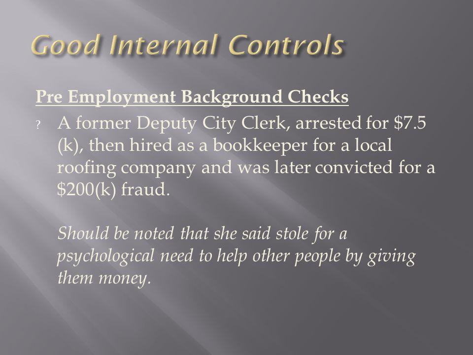Pre Employment Background Checks .
