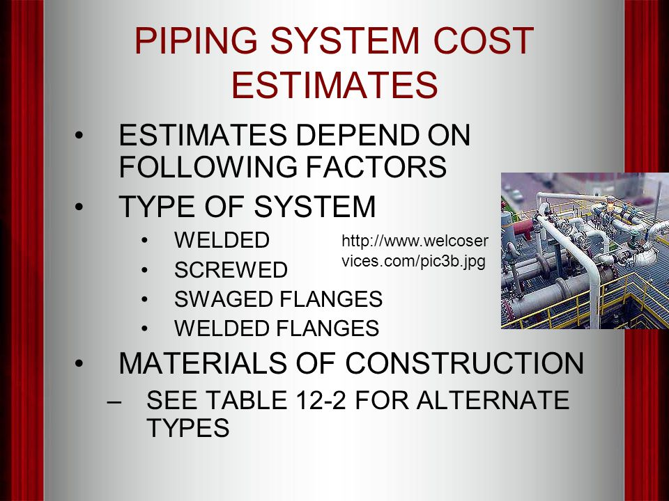 PIPING SYSTEM COST ESTIMATES ESTIMATES DEPEND ON FOLLOWING FACTORS TYPE OF SYSTEM WELDED SCREWED SWAGED FLANGES WELDED FLANGES MATERIALS OF CONSTRUCTI