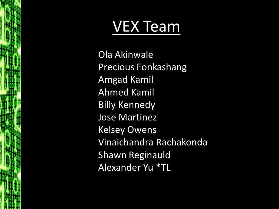 VEX Team Ola Akinwale Precious Fonkashang Amgad Kamil Ahmed Kamil Billy Kennedy Jose Martinez Kelsey Owens Vinaichandra Rachakonda Shawn Reginauld Ale