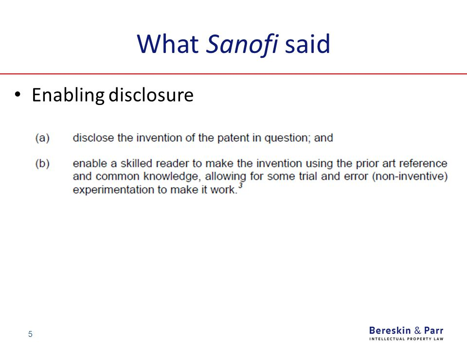 What Sanofi said Enabling disclosure 5