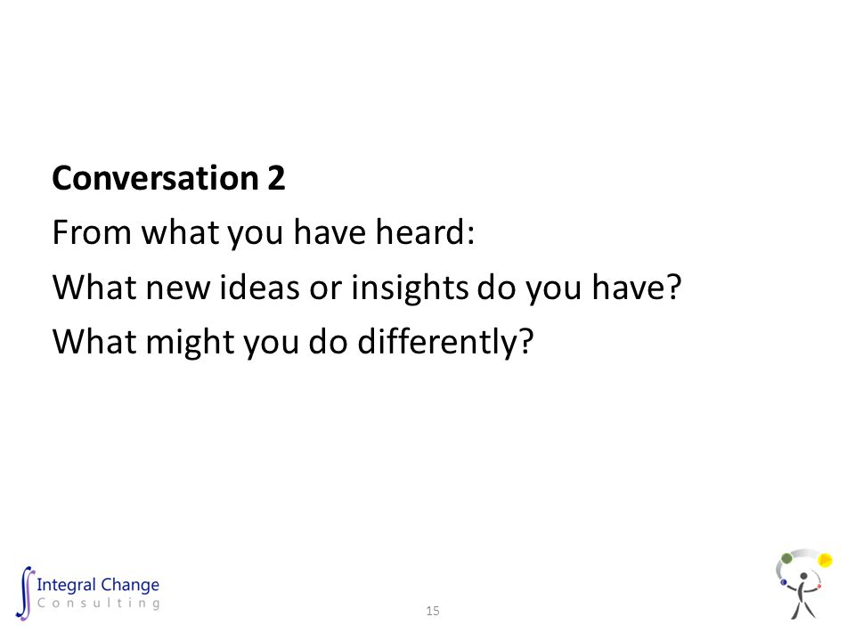 Conversation 2 From what you have heard: What new ideas or insights do you have.