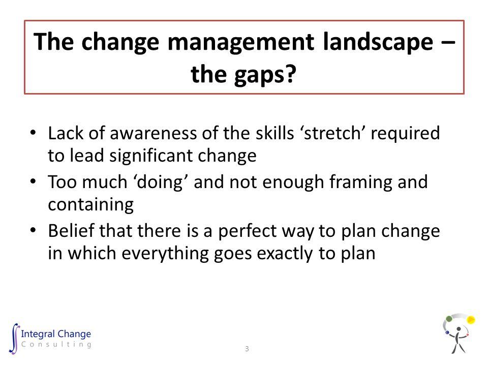 The change management landscape – the gaps.