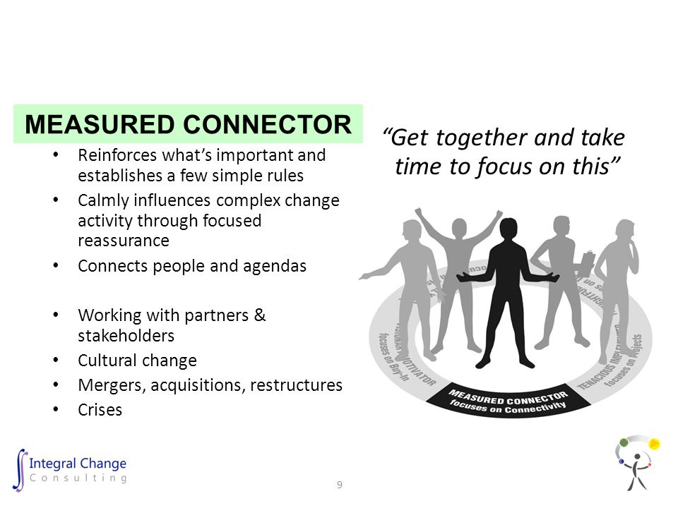 Reinforces what's important and establishes a few simple rules Calmly influences complex change activity through focused reassurance Connects people and agendas Working with partners & stakeholders Cultural change Mergers, acquisitions, restructures Crises Get together and take time to focus on this MEASURED CONNECTOR 9