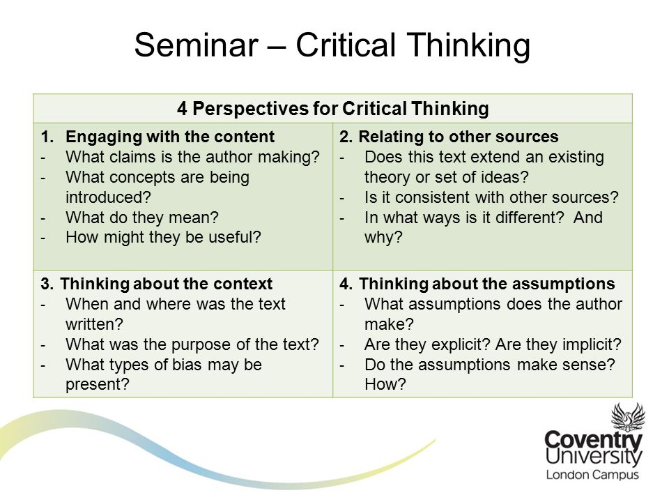 Critical Thinking Purpose