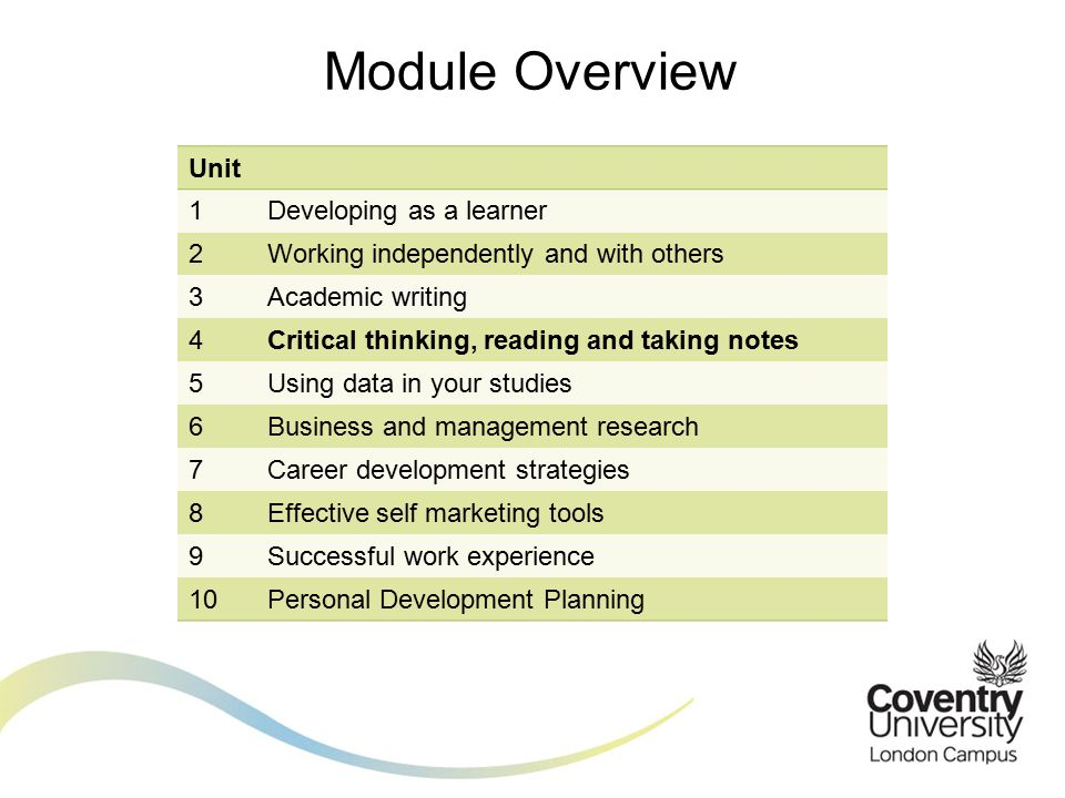 Module Overview Unit 1Developing as a learner 2Working independently and with others 3Academic writing 4Critical thinking, reading and taking notes 5Using data in your studies 6Business and management research 7Career development strategies 8Effective self marketing tools 9Successful work experience 10Personal Development Planning