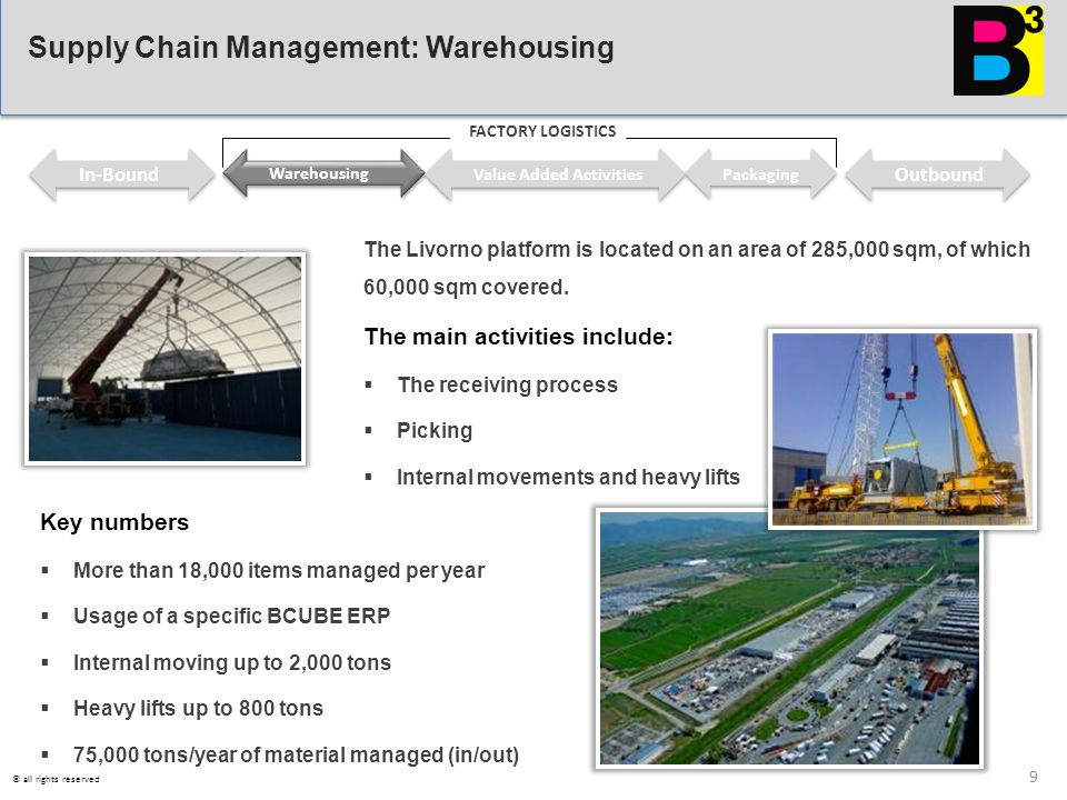 The Livorno platform is located on an area of 285,000 sqm, of which 60,000 sqm covered. The main activities include:  The receiving process  Picking