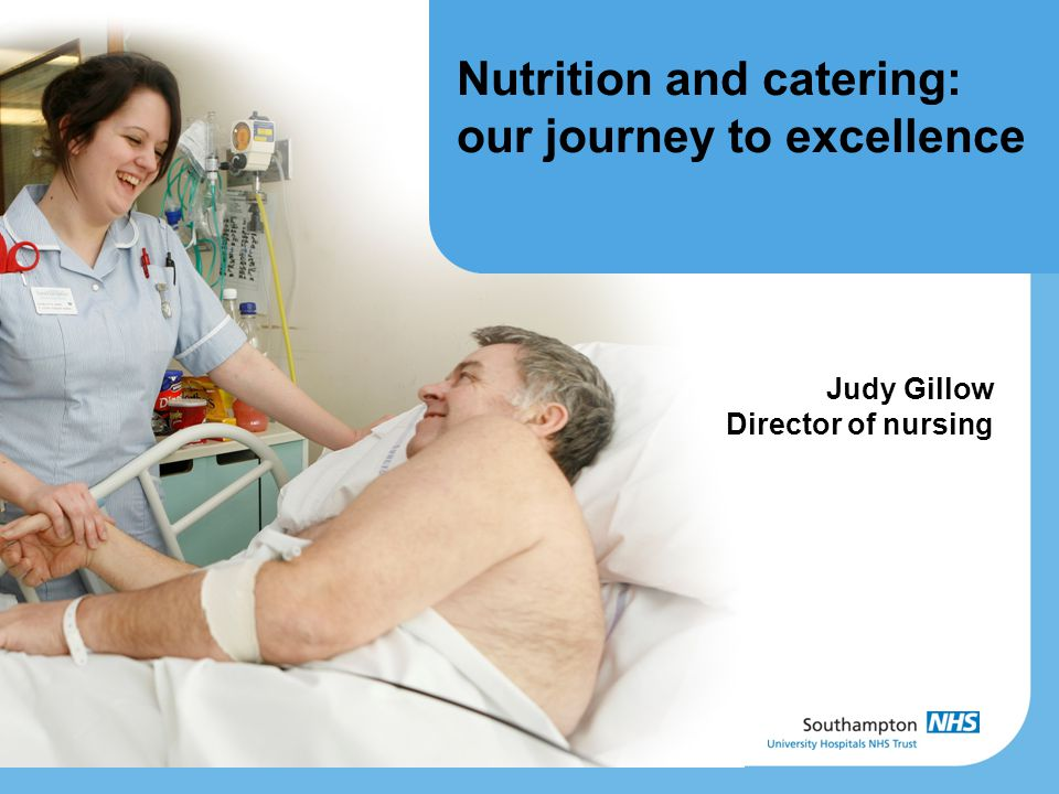 Nutrition and catering: our journey to excellence Judy Gillow Director of nursing