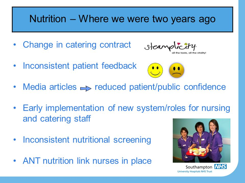 Nutrition – Where we were two years ago Change in catering contract Inconsistent patient feedback Media articles reduced patient/public confidence Ear