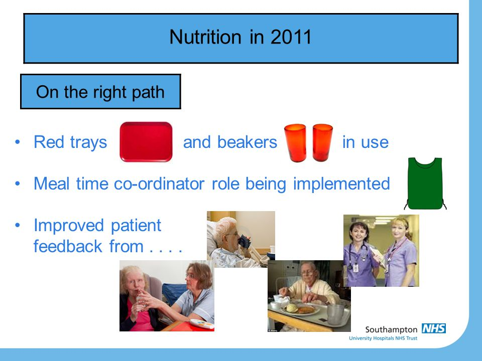 Nutrition in 2011 On the right path Red trays and beakers in use Meal time co-ordinator role being implemented Improved patient feedback from....