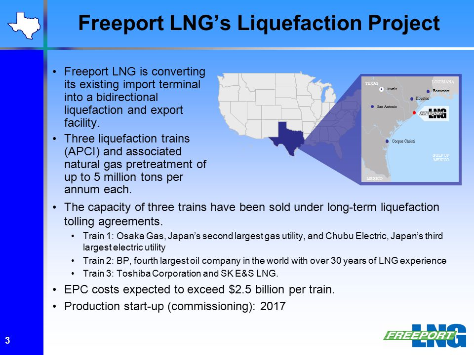 Freeport LNG's Liquefaction Project Austin TEXAS MEXICO LOUISIANA San Antonio Corpus Christi Beaumont Houston GULF OF MEXICO Freeport LNG is converting its existing import terminal into a bidirectional liquefaction and export facility.