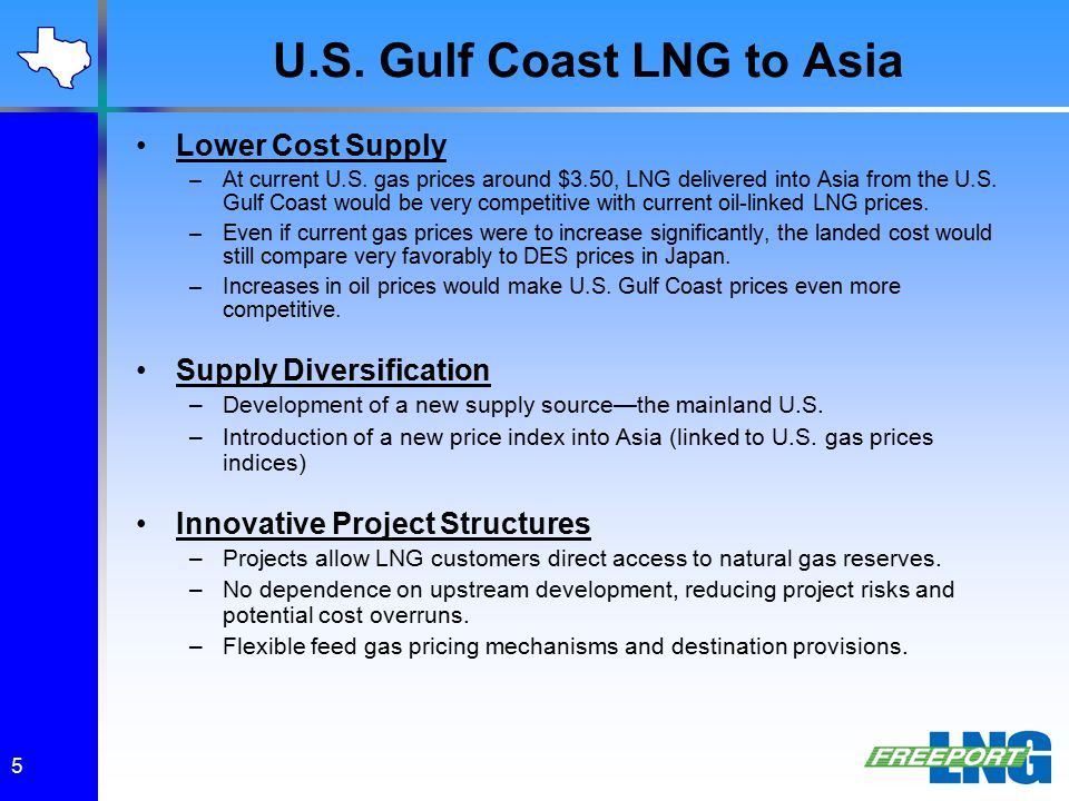 U.S. Gulf Coast LNG to Asia Lower Cost Supply –At current U.S. gas prices around $3.50, LNG delivered into Asia from the U.S. Gulf Coast would be very