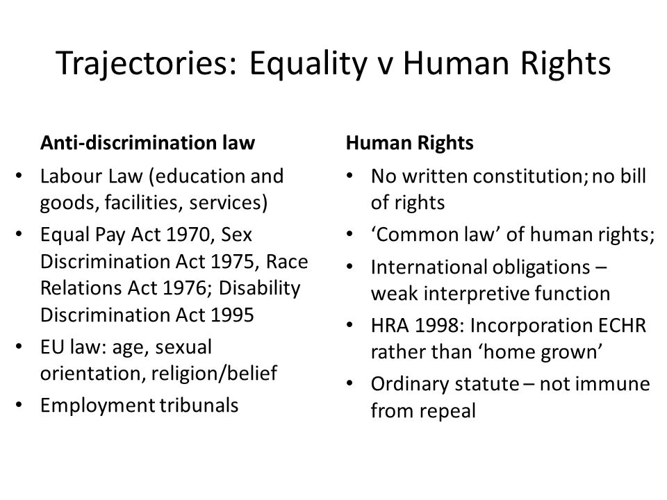 Trajectories: Equality v Human Rights Anti-discrimination law Labour Law (education and goods, facilities, services) Equal Pay Act 1970, Sex Discrimination Act 1975, Race Relations Act 1976; Disability Discrimination Act 1995 EU law: age, sexual orientation, religion/belief Employment tribunals Human Rights No written constitution; no bill of rights 'Common law' of human rights; International obligations – weak interpretive function HRA 1998: Incorporation ECHR rather than 'home grown' Ordinary statute – not immune from repeal