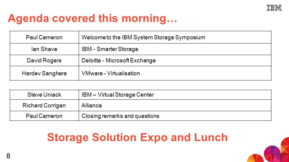 8 Agenda covered this morning… Paul CameronWelcome to the IBM System Storage Symposium Ian ShaveIBM - Smarter Storage David RogersDeloitte - Microsoft