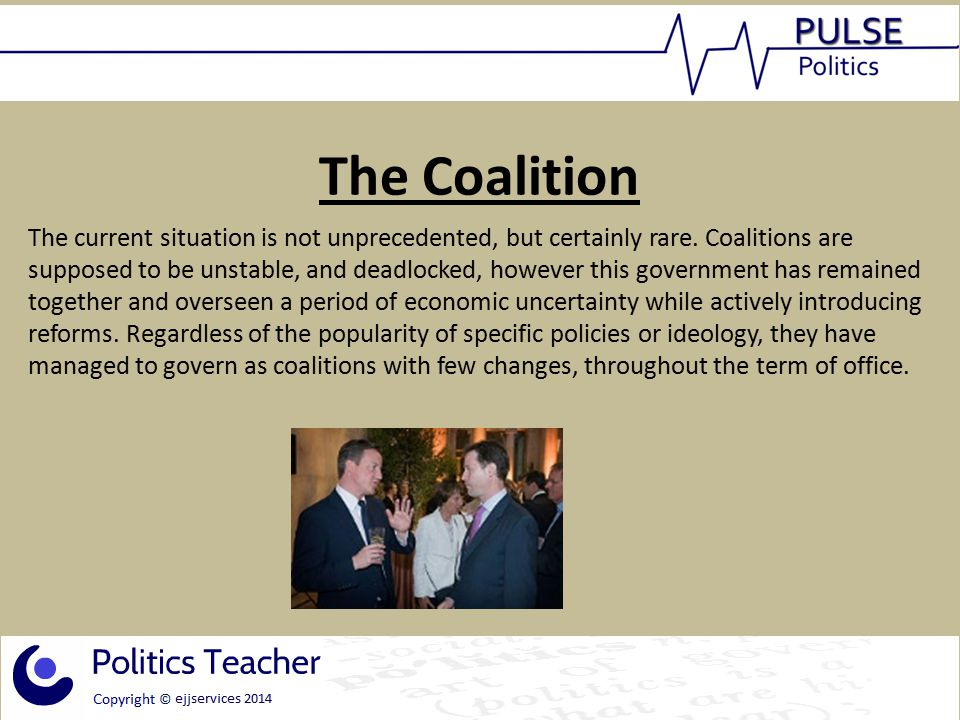 The coalition and the parties Liberal Democrats The Lib Dems have suffered a massive drop in popularity since the 2010 elections, particularly their leader Nick Clegg.