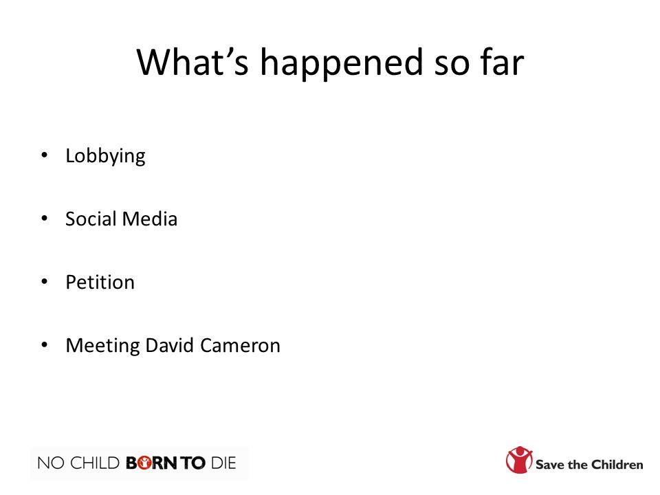 What's happened so far Lobbying Social Media Petition Meeting David Cameron