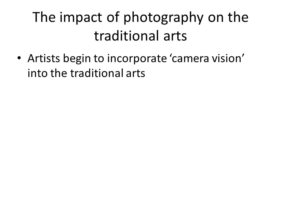 Artists begin to incorporate 'camera vision' into the traditional arts