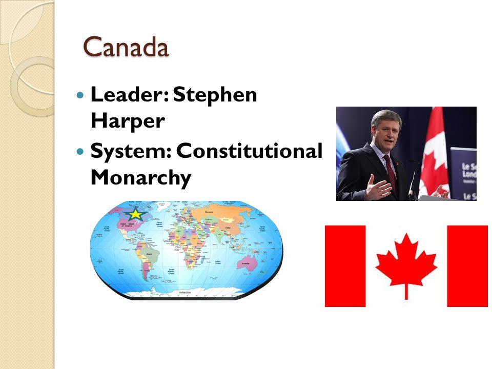 Canada Leader: Stephen Harper System: Constitutional Monarchy