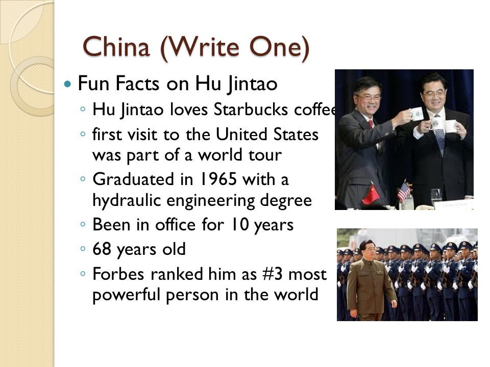 China (Write One) Fun Facts on Hu Jintao ◦ Hu Jintao loves Starbucks coffee ◦ first visit to the United States was part of a world tour ◦ Graduated in 1965 with a hydraulic engineering degree ◦ Been in office for 10 years ◦ 68 years old ◦ Forbes ranked him as #3 most powerful person in the world