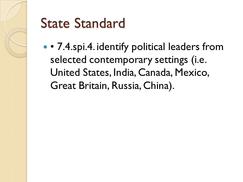 State Standard 7.4.spi.4. identify political leaders from selected contemporary settings (i.e.