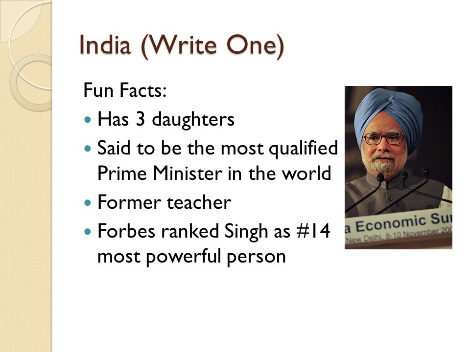 India (Write One) Fun Facts: Has 3 daughters Said to be the most qualified Prime Minister in the world Former teacher Forbes ranked Singh as #14 most powerful person
