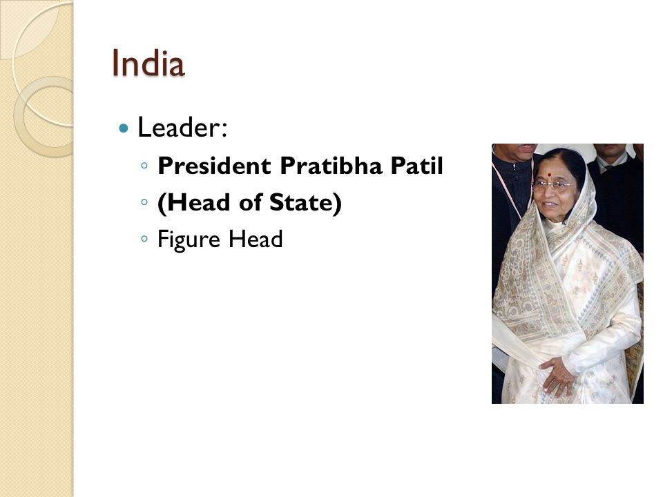 India Leader: ◦ President Pratibha Patil ◦ (Head of State) ◦ Figure Head