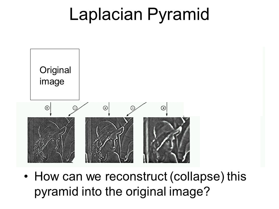 Laplacian Pyramid How can we reconstruct (collapse) this pyramid into the original image.