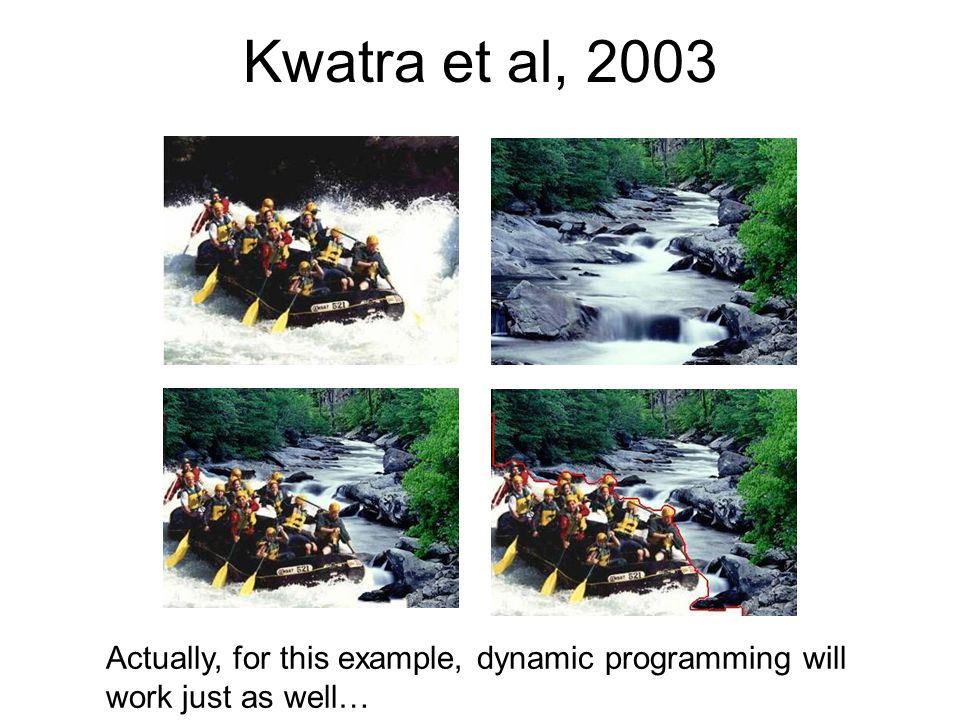 Kwatra et al, 2003 Actually, for this example, dynamic programming will work just as well…