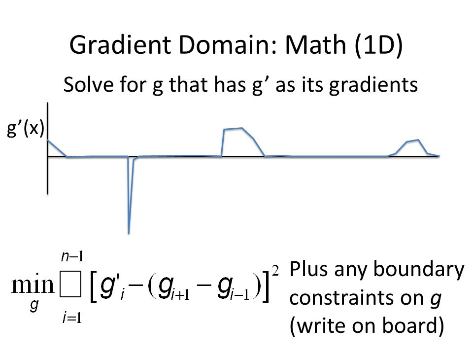 Gradient Domain: Math (1D) g'(x) Solve for g that has g' as its gradients Plus any boundary constraints on g (write on board)