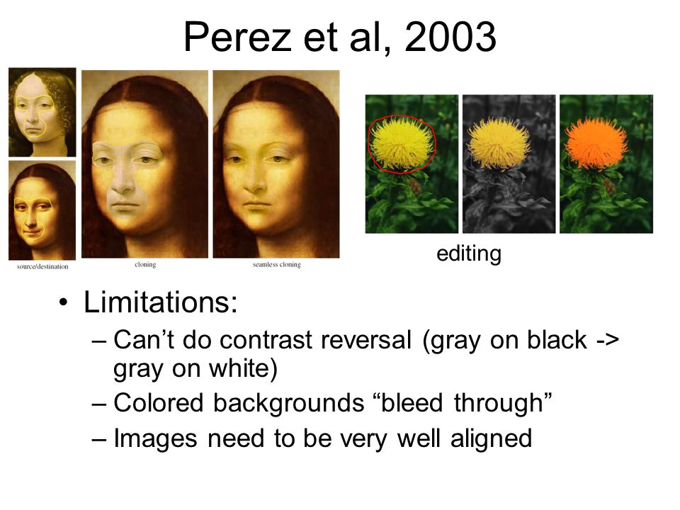 Perez et al, 2003 Limitations: –Can't do contrast reversal (gray on black -> gray on white) –Colored backgrounds bleed through –Images need to be very well aligned editing