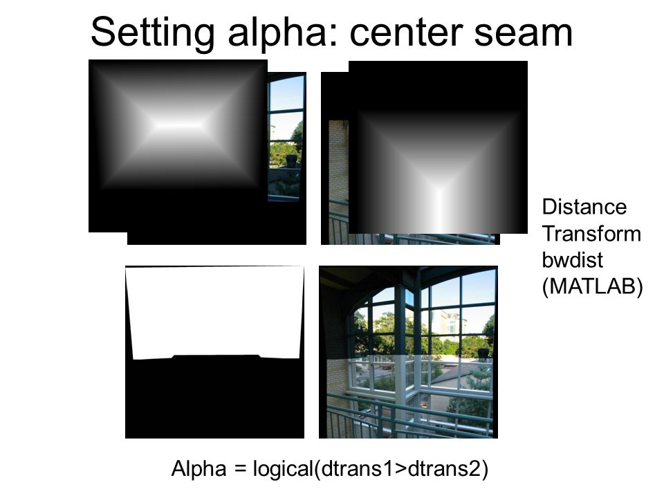 Setting alpha: center seam Alpha = logical(dtrans1>dtrans2) Distance Transform bwdist (MATLAB)