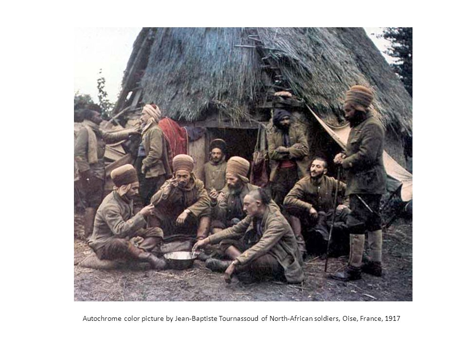 Autochrome color picture by Jean-Baptiste Tournassoud of North-African soldiers, Oise, France, 1917