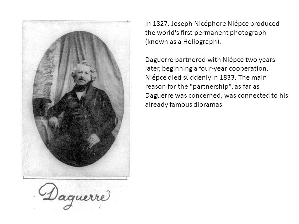 Daguerre first exposed silver-coated copper plates to iodine, obtaining silver iodide.