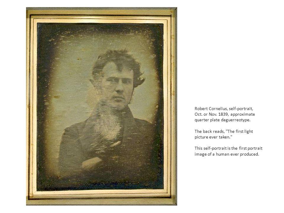 Robert Cornelius, self-portrait, Oct. or Nov. 1839, approximate quarter plate daguerreotype.