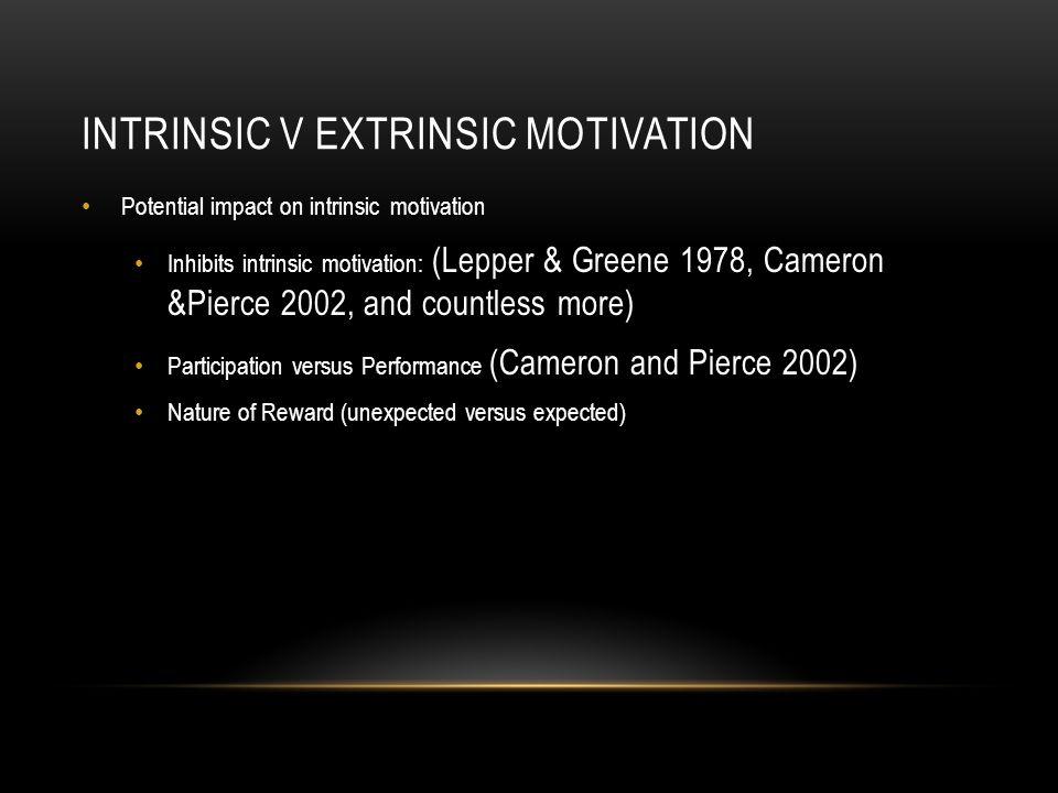 INTRINSIC V EXTRINSIC MOTIVATION Potential impact on intrinsic motivation Inhibits intrinsic motivation: (Lepper & Greene 1978, Cameron &Pierce 2002,